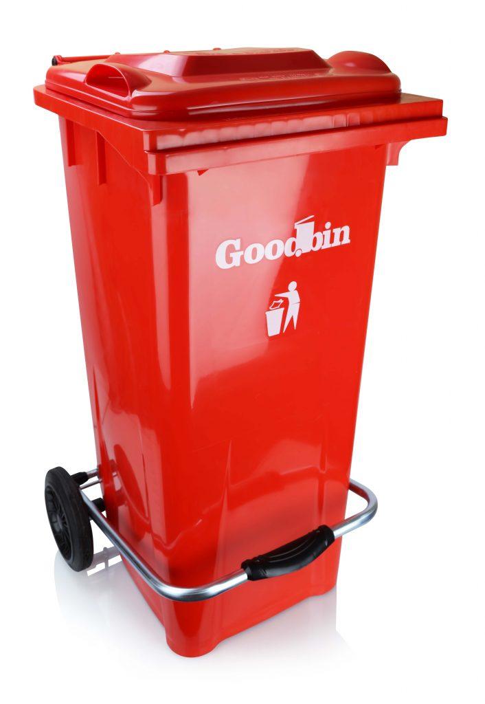 سطل زباله پدالی گودبین ۱۰۰ لیتری چرخ دار