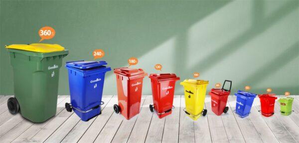سطل زباله پدالی گودبین 100 لیتری چرخ دار
